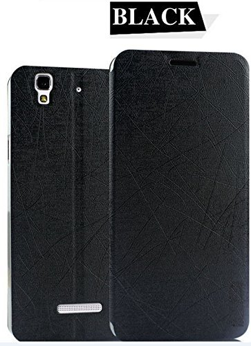 Pudini Yusi Series Flip Stand Case Cover for Micormax Yu Yureka - Free Screenguard - Black