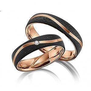 Eheringe Partnerringe Trauringe Verlobungsringe Freundschaftsringe aus Titan mit Zirkonia / Laser Gravur GRATIS