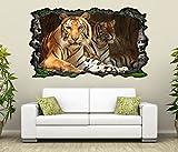 3D Wandtattoo Tiger Augen Tier Kopf Raubkatze Bild selbstklebend Wandbild sticker Wohnzimmer Wand Aufkleber 11G732, Wandbild Größe F:ca. 162cmx97cm