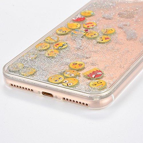 Voguecase Pour Apple iPhone 6/6S 4,7, Dual Layer Luxe Flowing Bling Glitter Sparkles Quicksand et les étoiles Hard Case étui Housse Etui(Noctilucent-QQ expression 01-Rose) de Gratuit stylet l'écran al Noctilucent-QQ expression 01-Argent