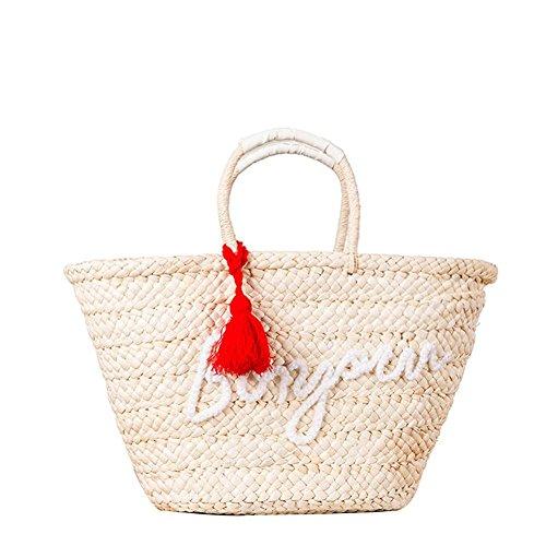 Borsa naturale della borsa della paglia della spalla del nappa delle lettere delle donne Donne semplici e alla moda tessute delle donne tessuto Tote semplice della spiaggia , red