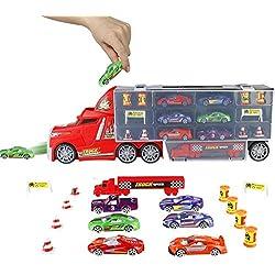 PL Voiture Enfant Camion Transporteur de Petites Voitures Transport de Coffret Voitures avec Mini Véhicules Miniature Jouet pour Garçons Filles 3 4 5 6 Ans