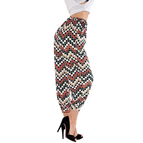 Homedecoam Damen Caprihose Baggy Hose Jeggings Haremshosen Schwarz mit Rot und Weiß