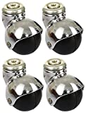 #10: Rexello Ball Castors with Chrome Plated Buster 50 MM (Black, Pack of 4) ...