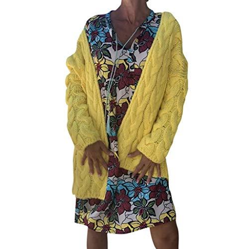 Amcool Strickjacke Damen Grobstrick Strickmantel strickcardigan Herbst Winter Einfarbig Casual Open Front Sweater Cardigan Offene Tops Outwear -