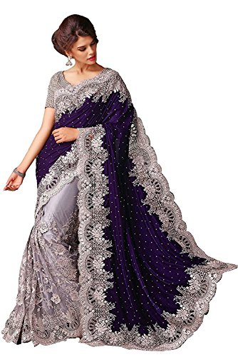 Prilora Women's Blue Color Net Embroidered Party Wear Saree  available at amazon for Rs.599