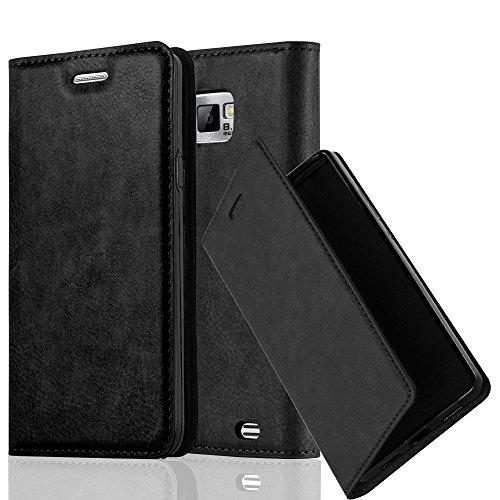 Cadorabo Hülle für Samsung Galaxy S2 / S2 Plus - Hülle in Nacht SCHWARZ - Handyhülle mit Magnetverschluss, Standfunktion und Kartenfach - Case Cover Schutzhülle Etui Tasche Book Klapp Style (Handys Galaxy S2)