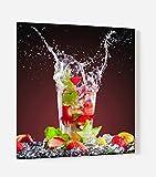 Impression Murale - Fond de hotte, crédence de cuisine en Verre de synthèse avec fixation adhésive'Cocktail tropical fraise' L. 60 x H. 70 cm - Epaisseur 4 mm