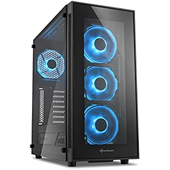 Sharkoon TG5 Midi-Tower Black computer case - Computer Cases (Midi-Tower, PC, Tempered glass, ATX,Micro-ATX,Mini-ITX, Black, Case fans)