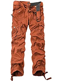 OCHENTA Men's Outdoor Water Washed Cotton Multi Pocket Cargo Trousers