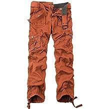 24af51f45a4 OCHENTA - Hombre Algodón Washed Multi Bolsillos Militar Cargo Pant