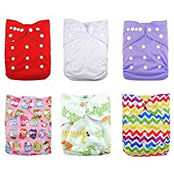 LOVE MY(TM) Baby Washable Reusable Cloth Diapers,breathable, Adjustable Snap, 6pcs Pack Pocket Cloth Diaper with 2 Inserts Each , 6 Pcs + 12 Inserts (Girl Color)