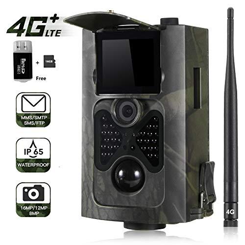 16MP 1080P Trail camera MMS FTP SMTP Wildkamera (4G 3G GSM) Jagdkamera, 0,3s Auslösezeit, Weitwinkelobjektiv Vision Infrarote 30m 940nm IR LED IP65 Wasserdicht 2.0