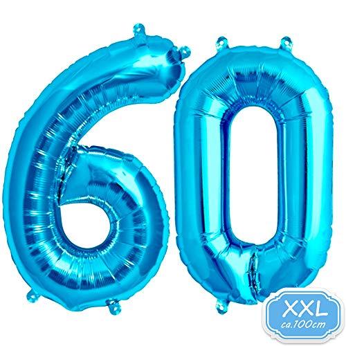 Zahl in Blau - XXL / ca.100cm Riesenzahl Ballons - Folienballons für Luft oder Helium als Geburtstag, Hochzeit , Jubiläum oder Abschluss Geschenk, Party Dekoration (Blau [ 60 ]) ()
