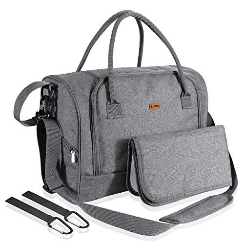 Lictin Bolso de cambiador bebé pañales Impermeable Bolsas de pañales bebés con una almohadilla para el pañal y bolsillos de aislamiento con 2 ganchos de carrito (Gris)