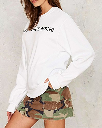 Smile YKK Sweat-shirt Blanc Femme T-shirt Sport Col Rond Manches Longues Casual Imprimé Blanc
