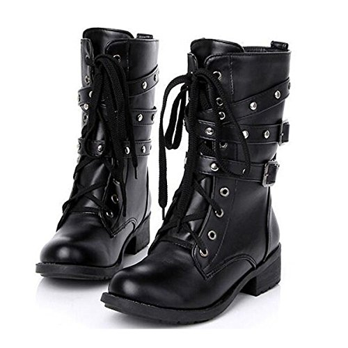 Rishil World Motorcycle Boots Women Cool Goth Punk AnkleMilitary Lace-up Black