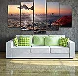 Malerei Für Wohnzimmer Wohnkultur 5 Panel Der Hubschrauber Modulare Bilder Poster Hochwertige Landschaftsdruck Leinwand
