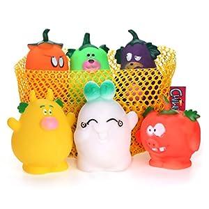 Chiwawa 6pcs Squeak jouet pour chien en vinyle Lovely Légumes Famille couineur Chiot interactif jouet Couleurs assorties