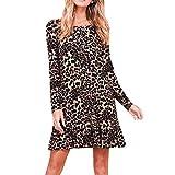 MERICAL Kleid Damen Sexy O Neck Leopardenmuster Minikleid Langarm Party Club Wrap Tee Kleid