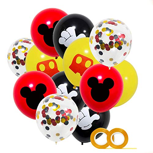 LAOZHOU Mickey Party Balloons 40 Pack, 12 Zoll Latexballons Rot Schwarz Gelb Konfetti Ballons Kit f ür Baby Shower Mickey Theme Party Supplies Geburtstag Partydekoration Lieferungen