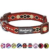 Blueberry Pet Tribal Ethno Druck Prächtiges Dunkel-Orange Geflochtenes Hundehalsband, Hals 37cm-50cm, M, Verstellbare Halsbänder für Hunde