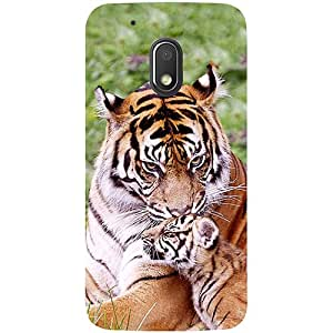 Casotec Tiger Design 3D Printed Hard Back Case Cover for Motorola Moto G4 Play