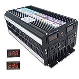 Cantonape 3000W (Peak 6000W) Inverter di Potenza DC da 12V a CA 230V con Display di Tensione, Doppie uscite universali, Porta USB da 3.1A per Camion per Auto RV Solar Power