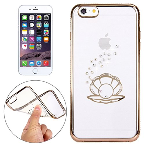 Phone case & Hülle Für iPhone 6 Plus / 6s Plus, Diamond verkrustete Shell Pattern Galvanisieren Frame TPU Schutzhülle ( Color : Rose Gold ) Gold