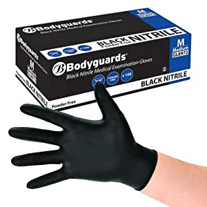 Bodyguard Disposable Black Nitrile Gloves Large
