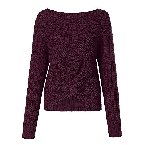 (OSYARD Damen Sweater Pullover Sweatshirt, Frauen Langarm T-Shirt Tops Bluse Einfarbig V-Ausschnitt Hemd Pulli Kleidung Tunika Sexy Kreuz Verknotet Panel Strickpullover Cardigan(L, Rot))