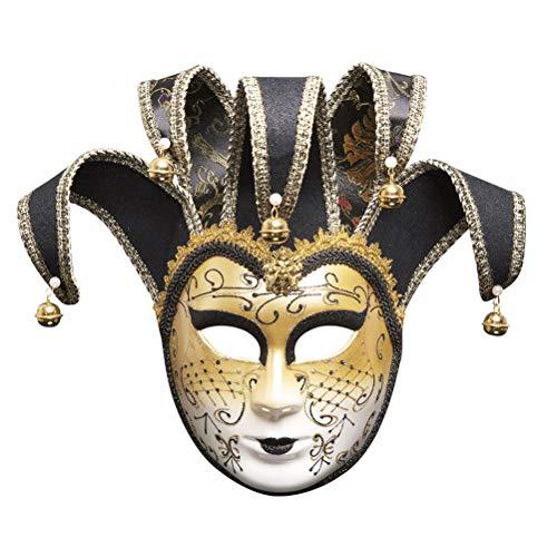 Zhuhaijq Venezianische Glitzern Kostüm Maske - Maskerade Maske Halloween Maske mit Glocken Pentagon Ball Prom Mardi Gras