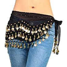 Pañuelo para danza del vientre de The Turkish Emporium, de gasa con 3filas de monedas, cinturón con 128monedas