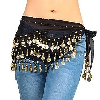 Danza del Ventre Hip Gonna Wrap Costume orientale sciarpa NUOVA Cintura in chiffon, nero con monete d'oro