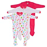 #4: Baby Grow Mini Berry Long Sleeve Cotton Sleep Suit Romper (Set Of 3) ( Pink,0-3 months)