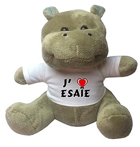 Peluche hippopotame avec un T-shirt: J'aime Esaïe (Noms/Prénoms)