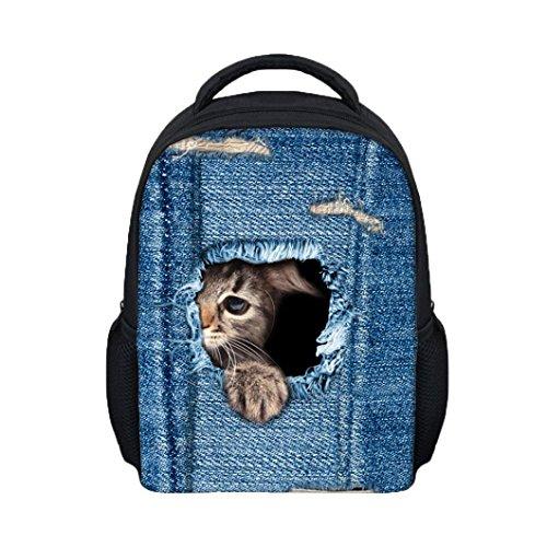 Preisvergleich Produktbild Backpage Kid sunnymi Rucksack,Mode 3D Katzen Denim Loch Stil School Bags (B, 31*26*10cm)