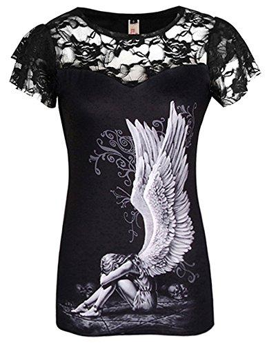 ELFIN® Gothic Netz Shirt Tops mit Versklavter Engel Druck Schwarz Spitzen