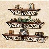 DECORVAIZ Wooden   Wrought Iron Wall Shelves   Set Of 3