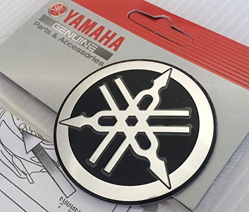 100 Genuine 55mm Durchmesser Yamaha Stimmgabel Aufkleber Sticker Emblem Logo Schwarz Silber Erhöht Gewölbt Metalllegierung Bau Selbstklebend