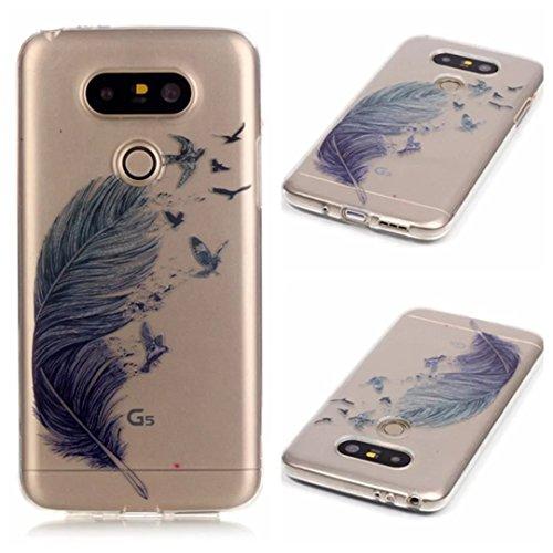 Preisvergleich Produktbild KSHOP Case Cover TPU Silikon Hülle für LG G5 Taschen Schale Schutzhülle Etui dünn kratzfeste stoßdämpfende - Grau Feder