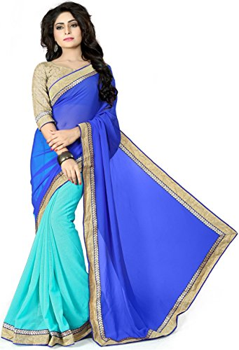 Vedant Vastram Women's Chiffon Embroidered Saree With Blouse Piece (Blue & Turquoise...