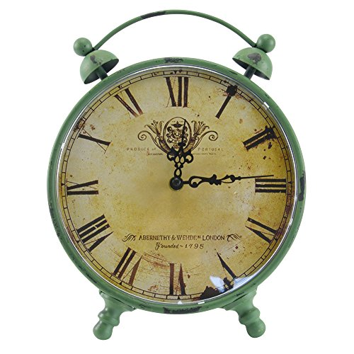Retro Wecker Standuhr Tischuhr Kaminuhr Küchenuhr Uhr Vintage Antik Shabby XL grün