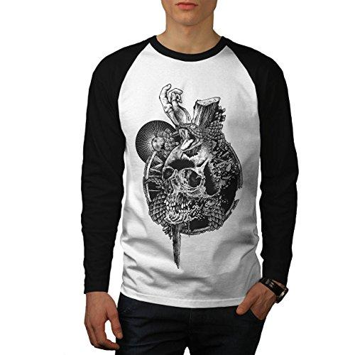 Schädel Schlange Tod Gote Men M Baseball LS T-shirt | (Geist Kostüm Ls)