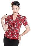 Hell Bunny Birdy 40er 50er Jahre Pin Up Vintage Stil Bluse Top - Rot (M - 38)