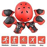 JIM'S STORE Set di Casco Ginocchiere per Bambini 7PCS Set di Casco, Ginocchiere, Gomitiere e Protezione Polso Set di Attrezzi protettivi Sportivi per Hoverboard, Scooter, BMX e Bicicletta(Rosso)