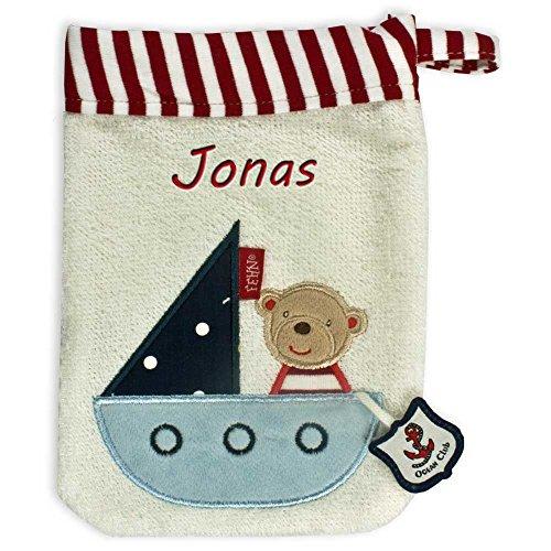 Baby Fehn Waschhandschuh mit Namen bestickt Waschlappen Baby Geschenk zur Geburt (Bär Ocean Club)