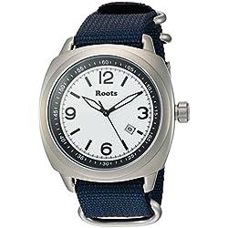 Roots Men's 'Core' Quartz Stainless Steel and Nylon Casual Watch, Color:Blue (Model: 1R-PR100WH7U)