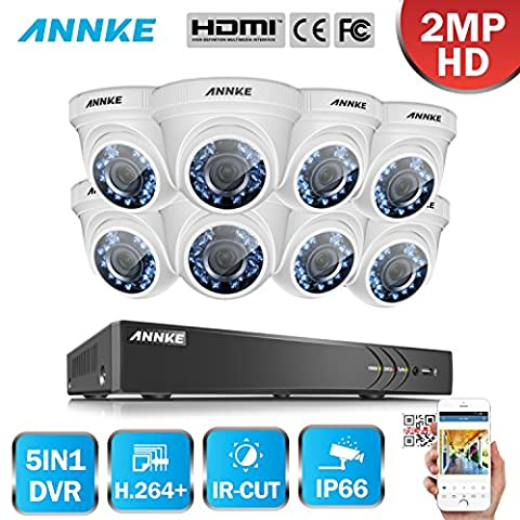ANNKE 8CH 1080P HD-TVI H.264+ DVR 8*2.0MP Caméras dôme Haute Résolution Système de Vidéosurveillance Caméra de Surveillance Détection de mouvement Sans Disque Dur