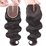 Wendy Haar Top 9 A Grade 1 55,9 cm Body Wave 4 * 4 Lace Schließung mittleren Teil Brazilian 100% Virgin Echthaar natürliches Schwarz, Farbe Body Wave Human Hair Hair Lace Closure (55,9 cm)